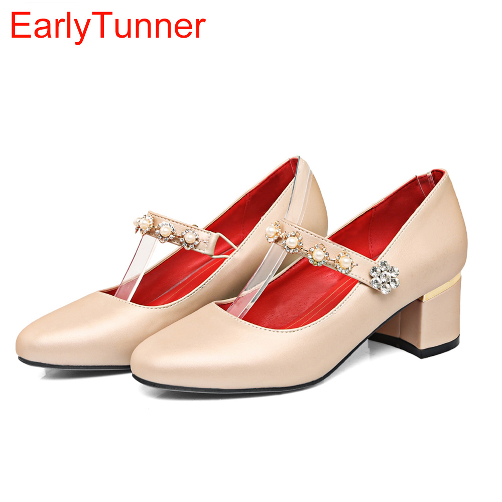 Brand New Sales Elegant Green Red Women Nude Pumps Silver Crystal Chunky Heels office Ladies Shoes EYP85 Plus Big Size 12 31 48 brand new hot sales women nude ankle boots black red white sexy ladies riding shoes high heels emb02 plus big size 32 45 11