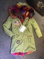 2017 Top USA Beading design large fox fur collar hood parka with multi faux fur lined, fur inside jacket Mr Mrs furs parka
