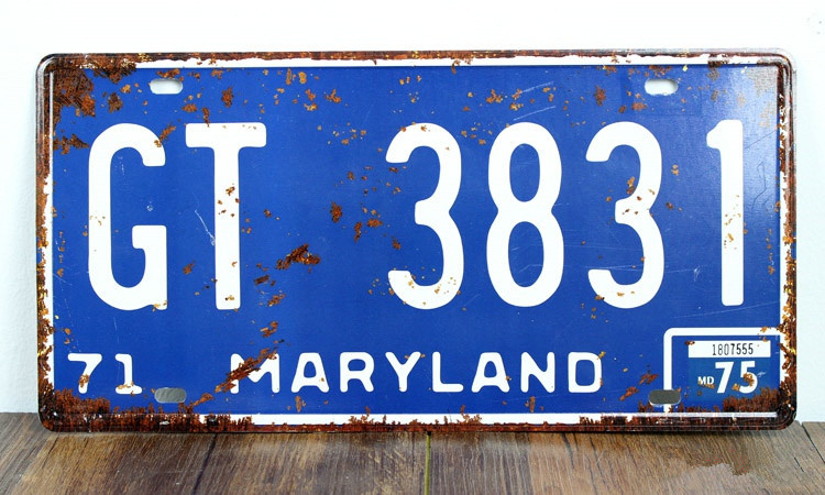 SP-CP-0163 Car License Plates number About  MARYLAND GT-3831  Retro Vintage Metal tin signs Wall art craft painting 15x30cm