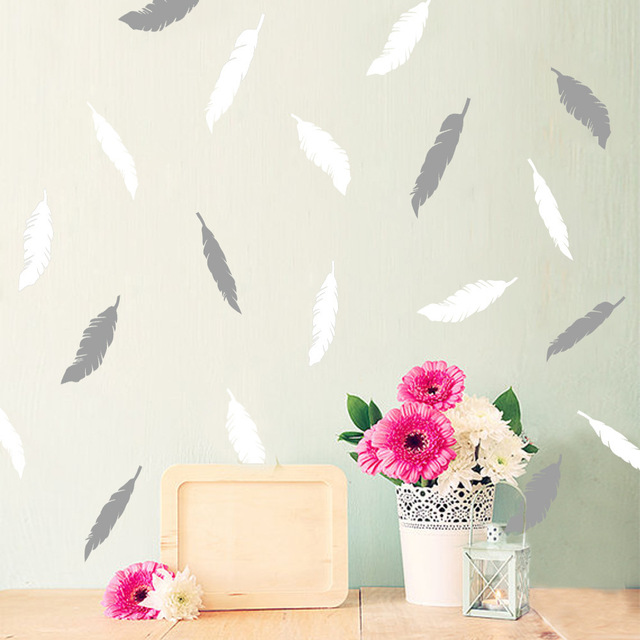 Feather Wall Sticker DIY Peel and Stick Art For Kids Room Home Decor ...