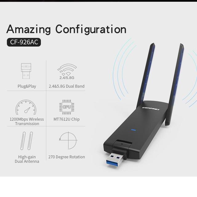 Motorista livre ieee802.11ac dual band 2.4 ghz 5 ghz 1200 mbps adaptador wi-fi sem fio comfast adaptador usb 3.0 placa de rede com antenas