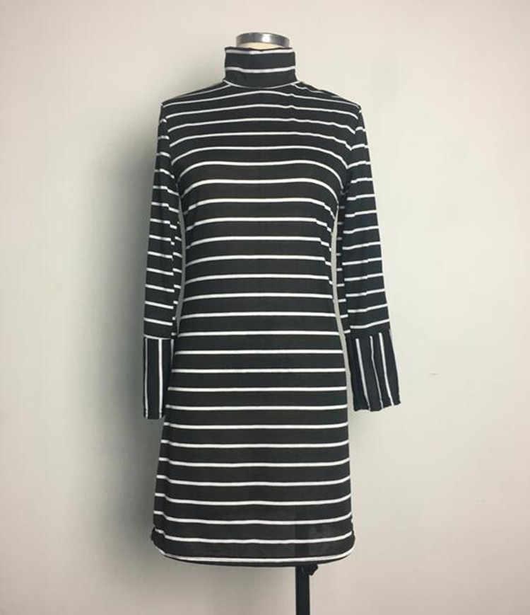 Europe femmes robes à rayures col roulé Aliexpress nouveau rayé col haut à manches longues mini robe Vestidos de festa BLK6166