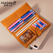 CICICUFF RFID Genuine Leather Women Wallet Female Long Women Purses Oil Wax Leather Lady Coin Purse Card Holder Clutch Wallets sendefn genuine leather wallet women wallets and purses female designer brand clutch long purse lady party wallet card holder