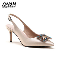 ISNOM 2018 Summer High Heels Satin Women Pumps Autumn Fashion Crystal Ladies Shoes Stiletto Heels Pointed Toe Slingback Footwear