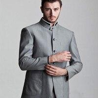 2018 New Custom Five Button Gray Groom Tuxedo mens suits Stand COllar Groomsmen Men Wedding Bridegroom Suit (Jacket+Pants+tie)