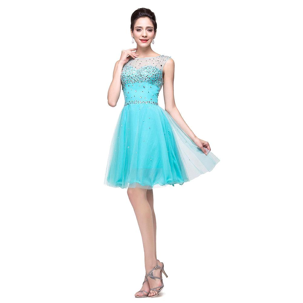 2017 Sparkly Mint Green Cap Sleeves Sleeveless Beads Short Prom ...