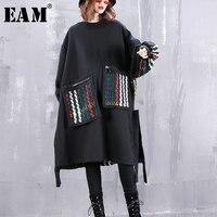 [EAM]2019 New Spring Round Neck Long Sleeve Colorful Striped Ribbon Pocket Large Size Sweatshirt Women Fashion Tide JI618