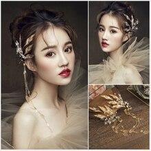 Золотой лист цветок лист цепи фея дерево/море тема декоративные шпильки для волос вечерние/костюм аксессуар принцесса головной убор