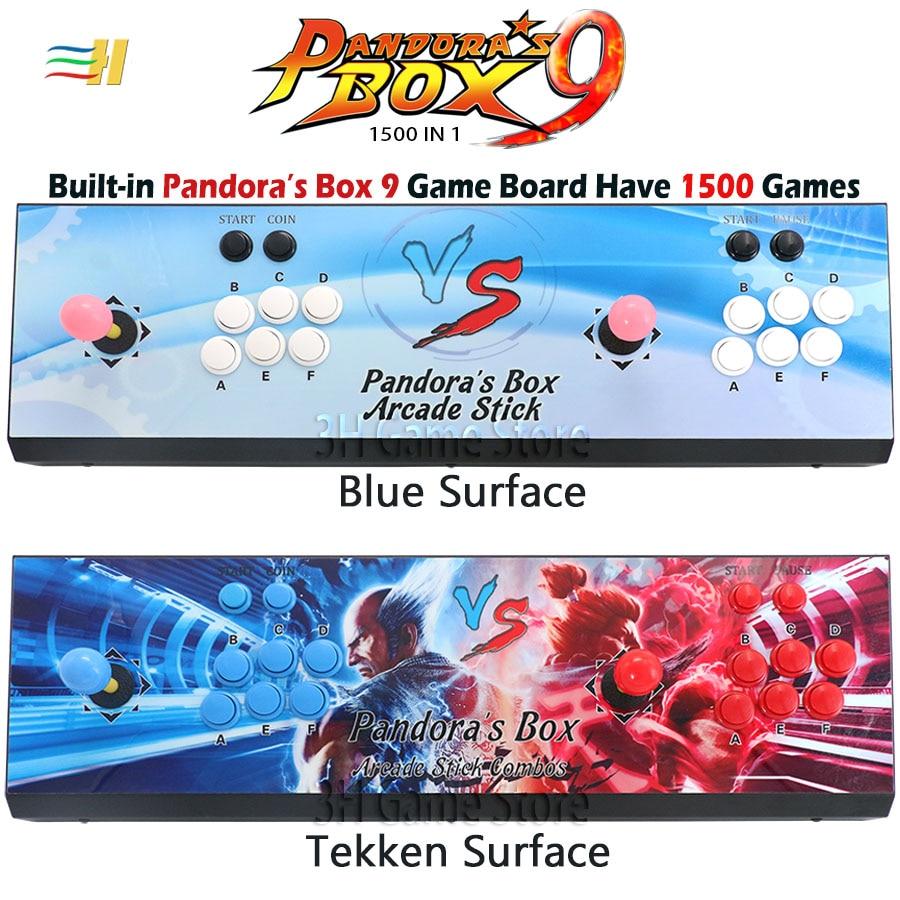 Nouveau Pandora Box 9 1500 en 1 jeu d'arcade fer console 2 joueurs bâton contrôleur console HDMI VGA USB sortie PS3 TV PC 5s 6s 7 8s