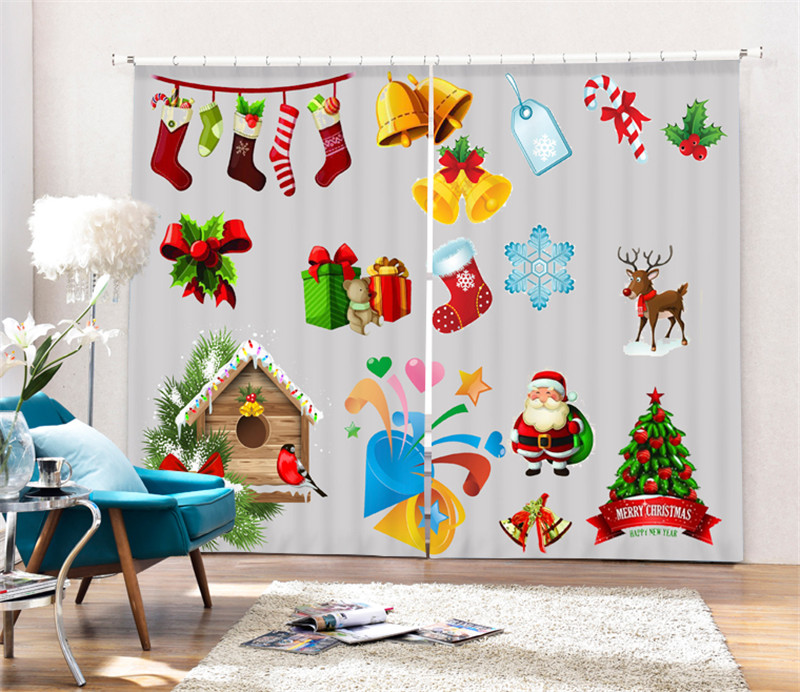 Modern Christmas Printing 3D Blackout Curtains For kids Bedding room Living room Hotel Drapes Cortinas Para Sala