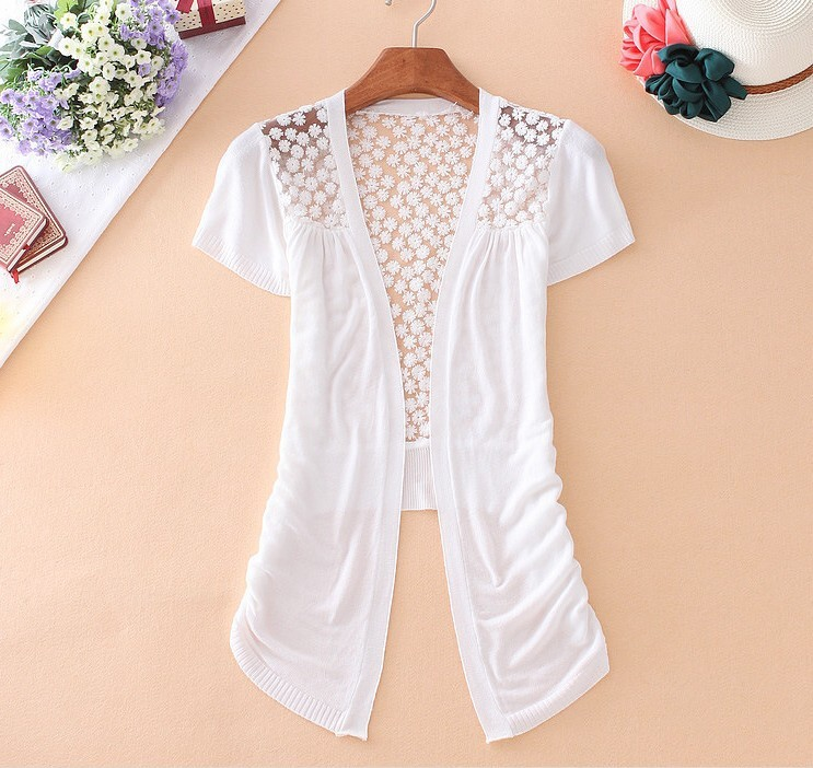 Summer Style Knitted Sweater New Fashion Women Short Sleeve Lace V-Neck  Crochet Casual Sweater - Popular Short Sleeve Summer Cardigan-Buy Cheap Short Sleeve Summer