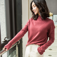100% Pashmina Knitting Sweaters Woman Turtleneck Flare Sleeve Pullovers Winter New Pure Cashmere Knitwear Women Standard Clothes