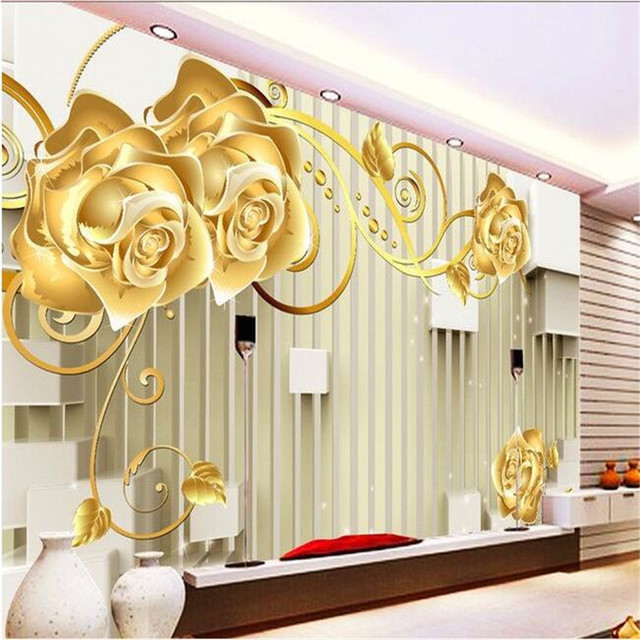 beibehang photo wall mural wallpaper 3d Luxury Quality HD Gold rose ...