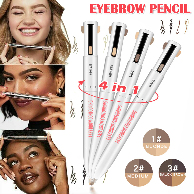 2020 Hot 4-in-1 Easy To Wear Eyebrow Contour Pen Waterproof Defining Highlighting Eye Brow Eyebrow Pencil Makeup Cosmetic Wyt77