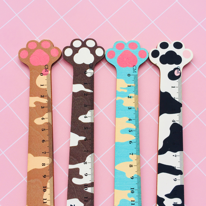 1PC Warm Heart Cat Claw 14CM Wooden Straight Ruler Measure Study Drawing School Student Stationery