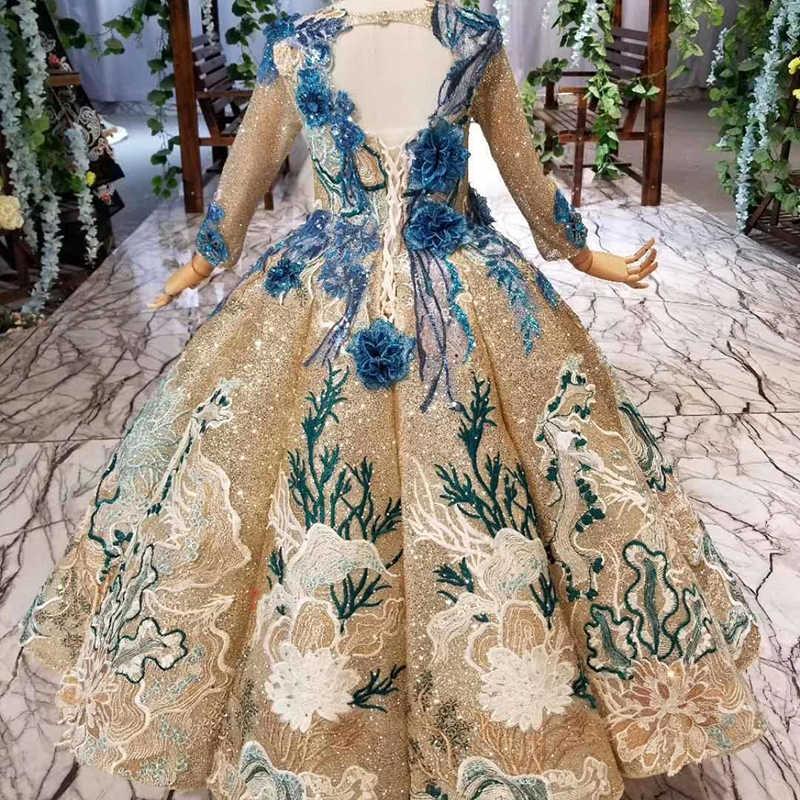 HTL0541 יוקרה מוסלמי הקודש שמלות עם נצנצים נפוח כדור שמלת זהב תחרות שמלות בנות vestido primera comunion