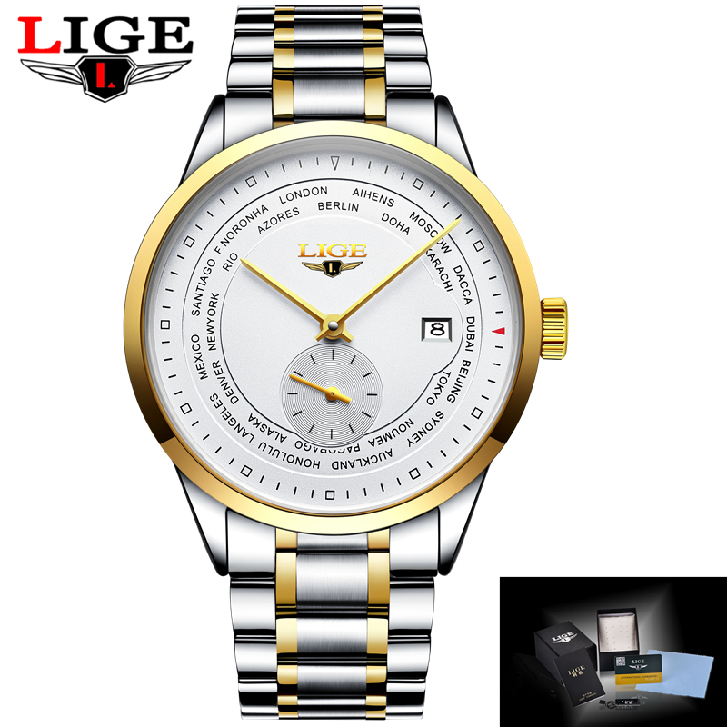 Relogio Masculino LIGE Mens Watches Top Brand Luxury Fashion Business Automatic mechanical Watch Men Sport Waterproof Wristwatch