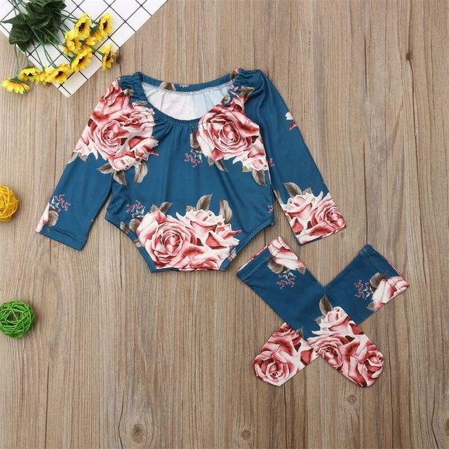 0-24M Newborn Baby Girl 2019 New Autumn Long Sleeve Romper Large Floral Jumpsuit Warm Leg Socks Outfit 3