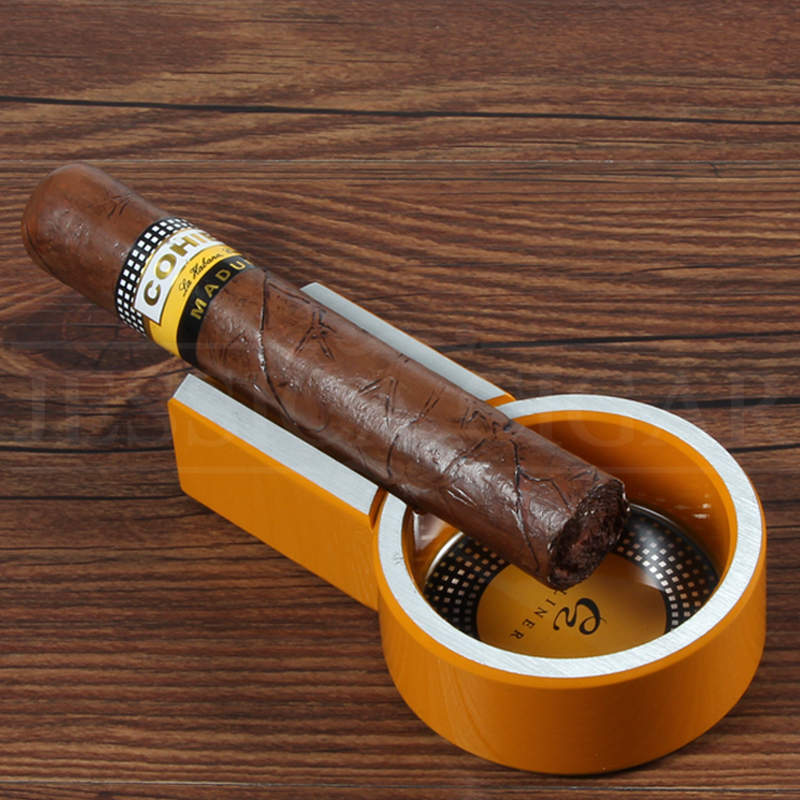 COHIBA Metal Cigar Ashtray Travel Outdoor Ash Tray 1 Ash Slot Portable Cigarette Ashtray For Car Ashtrays For 1 COHIBA Cigars in Ashtrays from Home Garden