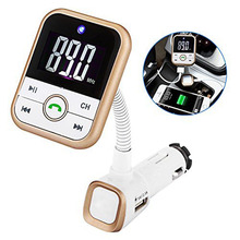 Bluetooth FM Transmitter, Wireless In-Car FM Transmitter Radio Adapter Car Kit With USB Car Charger AUX Input 1.5 Inch Display