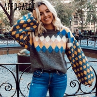 Affogatoo Sequined loose knitted sweater women Pattern lantern sleeve oversized pullovers Casual chic female winter short jumper