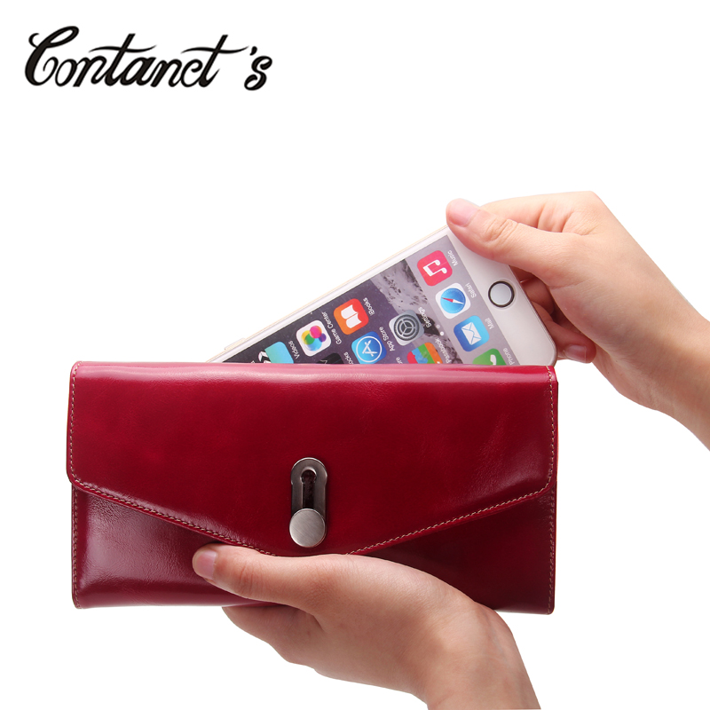 Contact's Brand Women Clutch Wallets Genuine Oil Wax Leather Long Ladies Passport Purse High Capacity 5.7 inch Cell Phone Wallet цена и фото