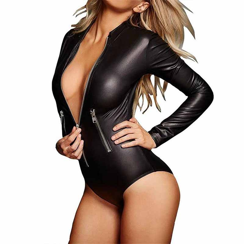 <font><b>Sexy</b></font> Wetlook <font><b>Lingerie</b></font> Bodysuit Fetish Women <font><b>Latex</b></font> Catsuits Faux Leather Front Zipper <font><b>Erotic</b></font> Costume Sex Body Suit Plus Size XXXL image