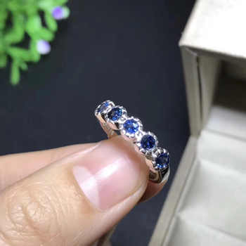 Natural blue sapphire gem Ring Natural gemstone ring 925 sterling silver trendy Elegant Row circle women girl gift party Jewelry - DISCOUNT ITEM  17% OFF All Category