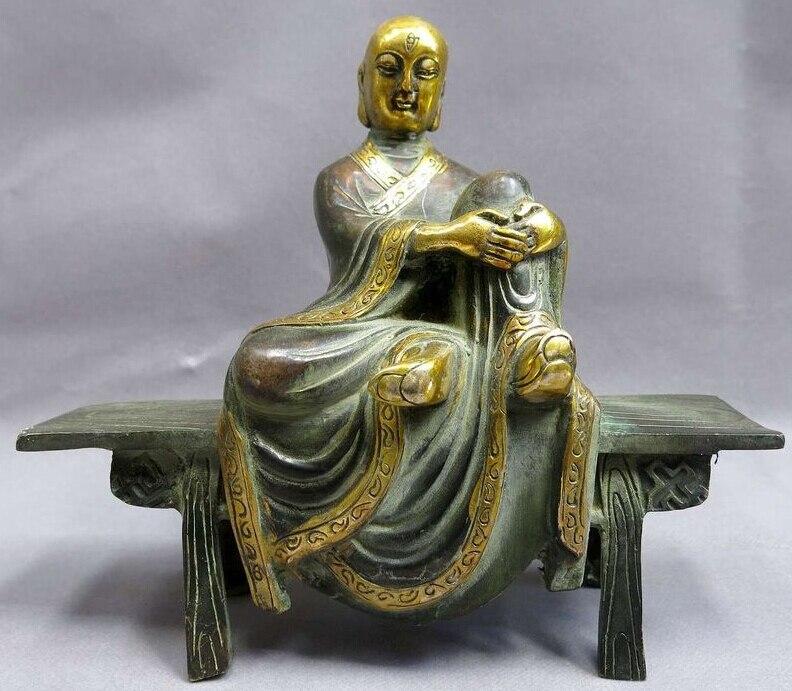 [Старый Ремесло] 7 Китай бронзовое покрытие буддизм Медь Резные деревянные скамьи Будды скульптура (a0314)