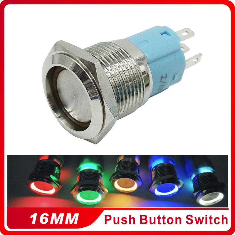 3V 5V 12V 24V 220V Push Button Switch With LED 16mm Flat Head Self Locking Waterproof Metal Button Switch 3v 5v 12v 24v 48v 110v 220v led locking 16mm waterproof metal push button switch maintained metal switch latching push button