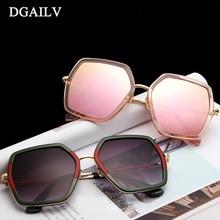 bd713831b0 DGAILV 2018 Vintage Big Frame Mirror Sunglasses Women Brand Designer  Colorful Mercury Shield Sun Glasses High Quality Sunglasses