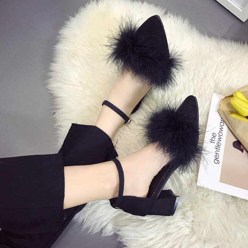 2019 spring  5cm thick with high heels suede professional word buckle single shoes female tide mujer s0452019 spring  5cm thick with high heels suede professional word buckle single shoes female tide mujer s045