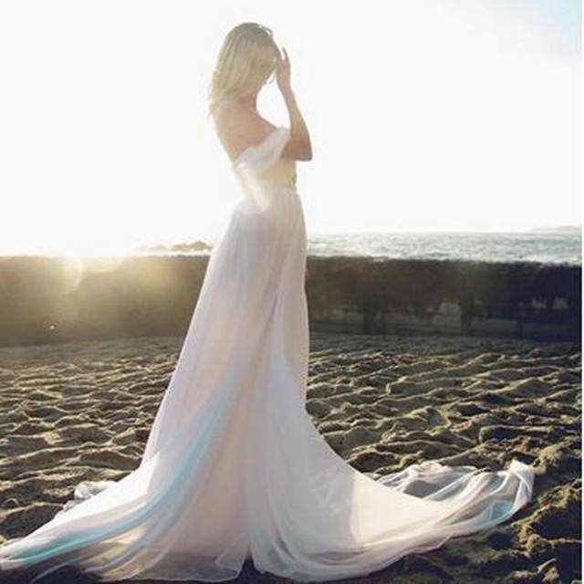Summer Style Backless Beach Wedding Dresses Flowing Elegant Boho Bridal A Line Vintage Greek Goddess