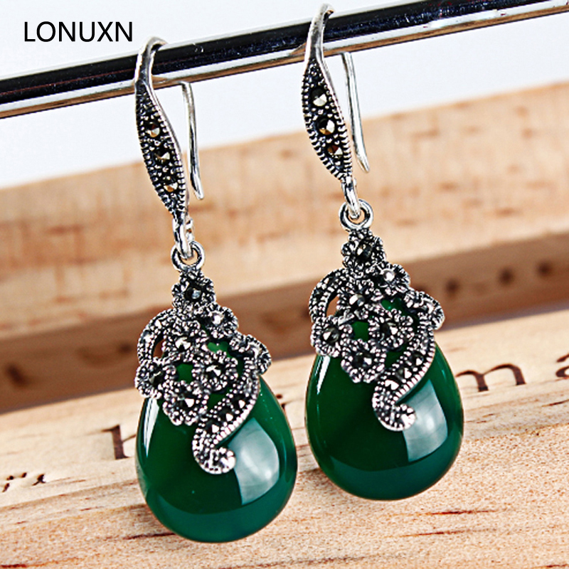 a pairs High quality retro green chalcedony natural semi-precious stones 925 Sterling silver women Jewelry Vintage red Earrings 925 sterling silver jewelry natural semi precious stones retro yellow chalcedony earring classical retro girlfriend gift