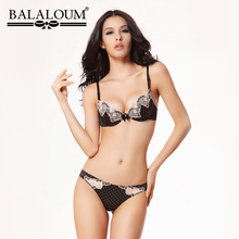 BALALOUM Sexy Women Bowknot Polka Dot Flower Lace Bra Panty Sets Brassiere Push Up Underwear Lingerie Set Seamless T Back Thongs