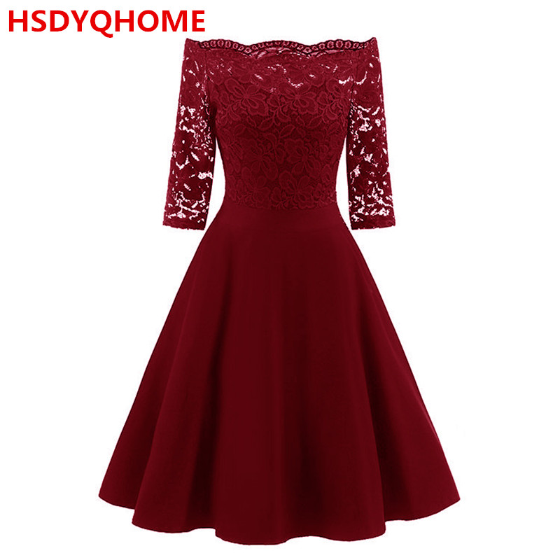 Boat Neck Short   Evening     dresses   cheap   dress   In Stock Women's Short sleeve A-line Sexy Prom party gown
