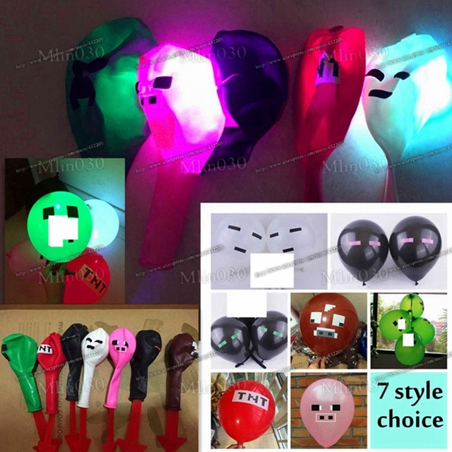 New Minecraft Balloon 12 LED Light Balloons Latex Creeper TNT Pig Cow Party