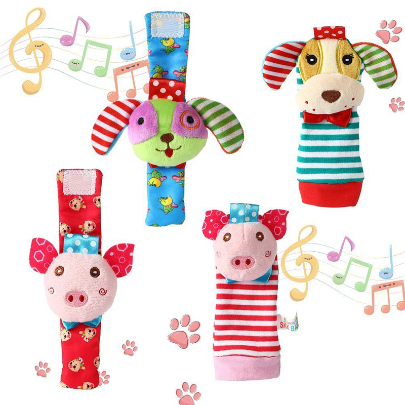 Baby Rattle Baby Wrist Rattles Foot Finder Socks Shower Gift Puppy Piggy Toy Set Educational Development Soft Animal Toy