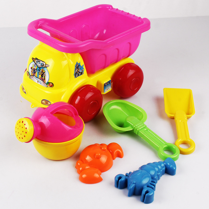 SLPF 6 Piece Set Children Beach Bucket Toys Car Baby Play Sand Digging Shovel Sand Tool Mold For Sand Set Kids Baby Game Toy G14