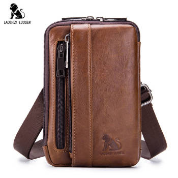 Genuine Leather Male Waist Fanny Packs Belt Bags Small Messenger Shoulder Men Phone Pouch Blosa Card Holder Key Cigarette Case
