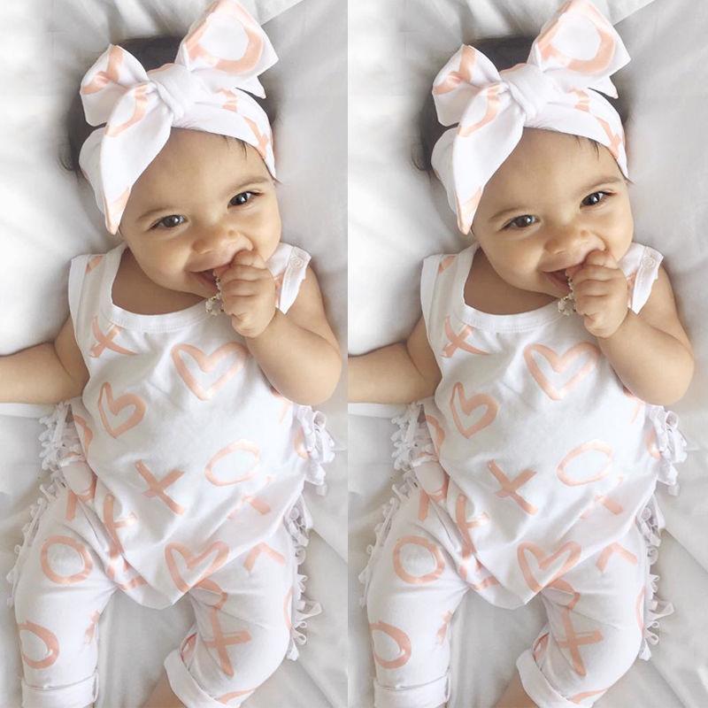 Newborn Baby Girl Cotton Tassel Romper + pałąk 2 SZTUK Niemowlę Dziewczyny Kombinezon Ubrania dla dzieci Letni strój