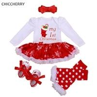 My 1st Christmas Girls Outfits Tutu Lace Romper Dress Headband Leg Warmers Crib Shoes Newborn Baby