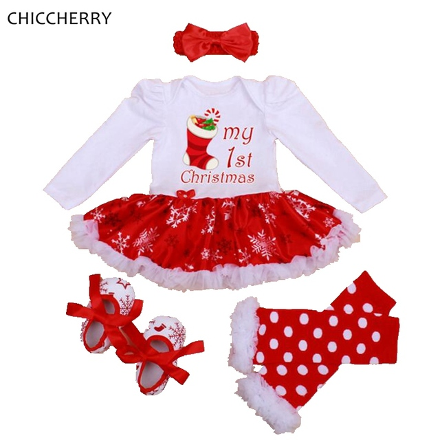 906cfdc9a307 My 1st Christmas Girls Outfits Tutu Lace Romper Dress Headband Leg Warmers  Crib Shoes Newborn Baby Girl Clothes Infant Clothing. 1 order