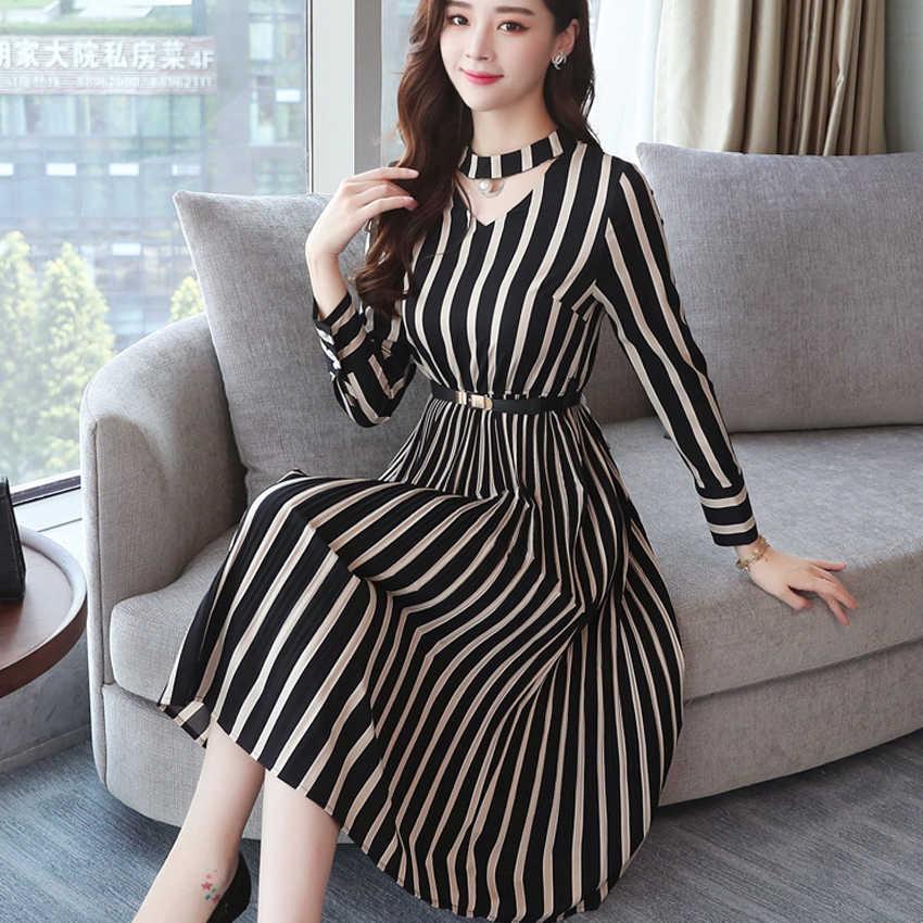 8003d6aa663 Mode femmes robe élégante rayé genou longueur mince automne robe ceintures  à manches longues dames tenue