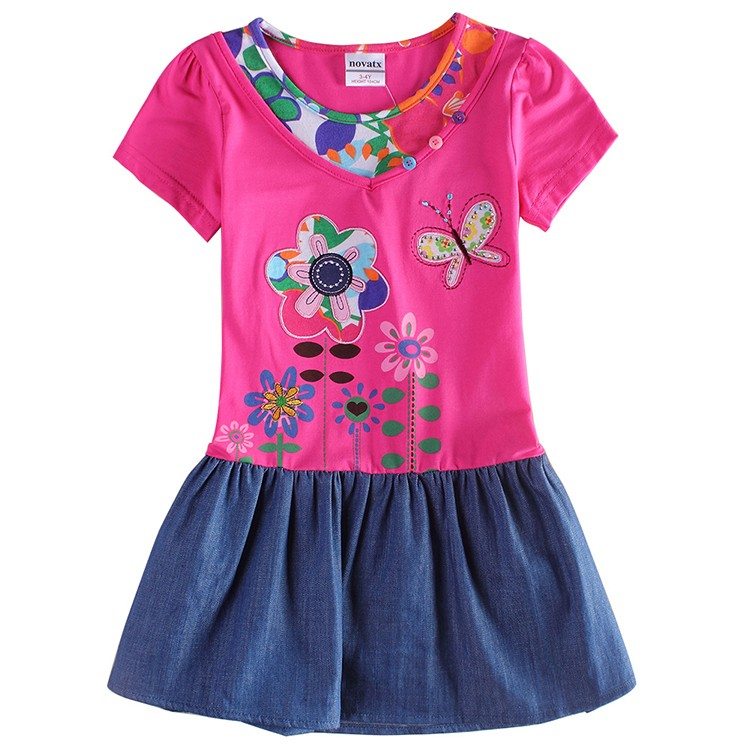 ФОТО 2015 nova kids clothes summer causal embroidery floral girl dress cowboy dress retail baby girl clothing kids wear child H6063