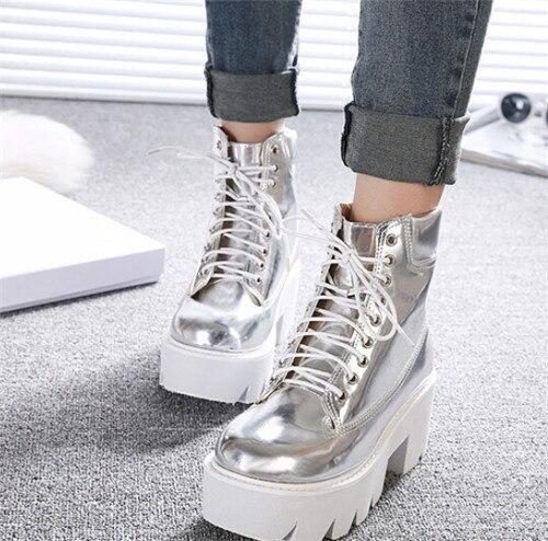 Bien-aimé PXELENA Punk Gothique femmes Bottines à lacets Chunky Bloc carré À  TN01