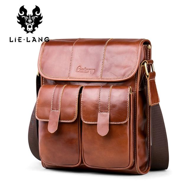 Lielang Новое поступление Для мужчин мужская сумка портфель Пояса из натуральной кожи Курьерские сумки для Для мужчин Винтаж коровьей Кроссбоди мешок Бизнес