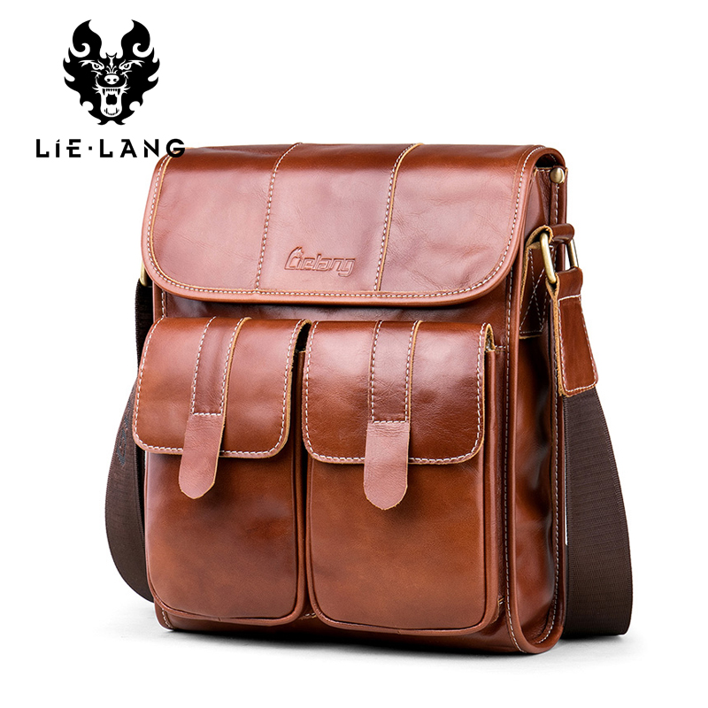 все цены на LIELANG New Arrival Men's Shoulder Bag Satchel Genuine Leather Messenger Bags For Men Vintage Cowhide Crossbody Bag Business