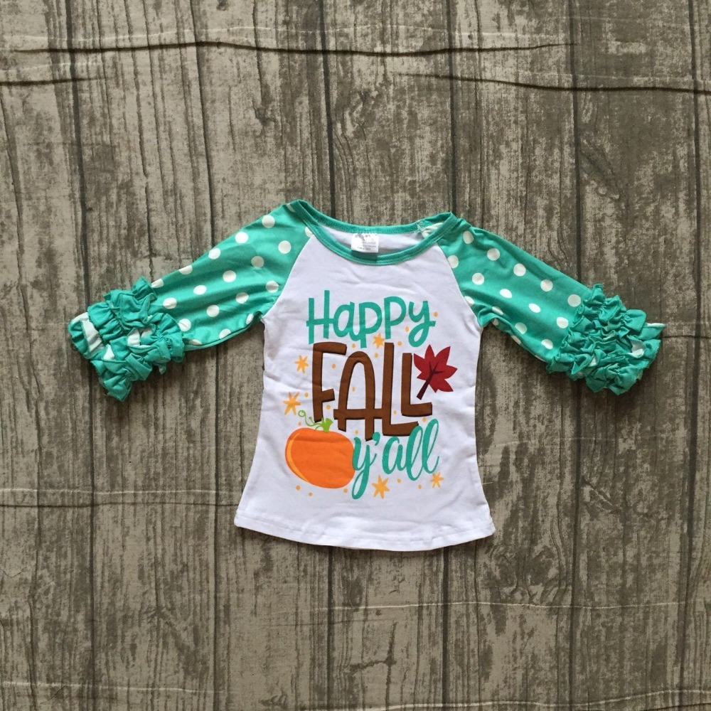 New Fall Baby Girls Outfits Boutique Top T-shirt Children Clothes Icing Sleeve Cotton Raglans Happy Fall Y'all Pumpkin Leaves