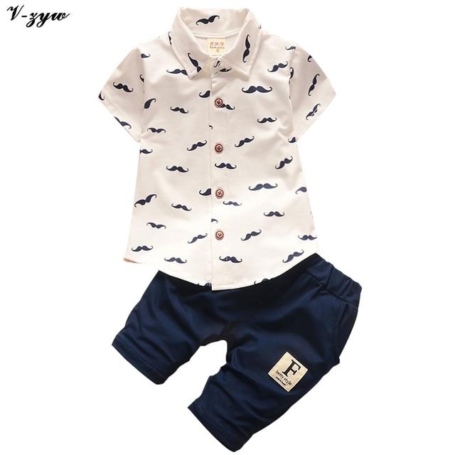 2017 Summer Baby Boys Clothes Suits Gentleman Style Kids Lovely Beard Shirt+Pants 2 Pcs Kindergarten Casual Suits Children Sets